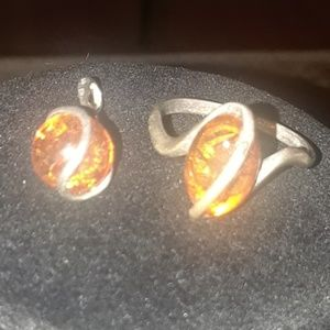 Amber Ring and Pendant Bundle